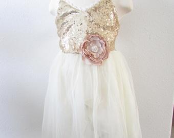 SALE Gold Ivory cream Flower Girl Dress  Style FG0027