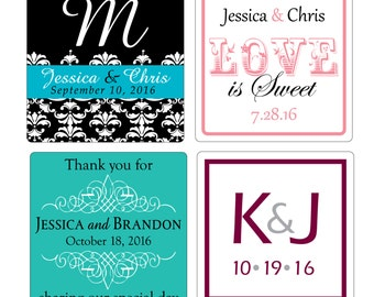 80 - 3 inch Custom Glossy Waterproof Wedding Stickers Labels - many designs to choose - change designs to any color, wording etc