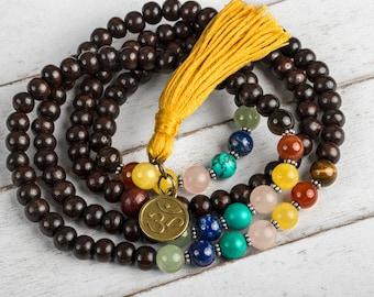 Rosewood Chakra Mala Necklace, Japa Mala, Wood Mala, Yoga Mala, Buddhist Mala, 108 Prayer Beads, OM Mala