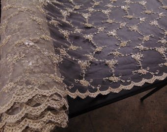 """Champagne, Victorian, Edwardian, Floral, Beaded and Sequin, Wedding Lace, 51"""" Wide, Wedding, Pagaent, Prom, Dancewear, Lingerie, Veil, Gowns"""