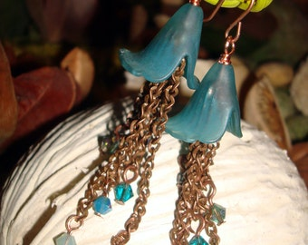 Antique Copper, Dangle Earrings with Swarovski Crystals