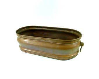 French Vintage Large Jardiniere, Vintage Copper Planter, French Home Decor