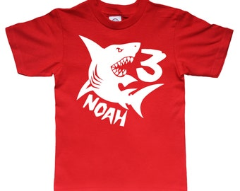 Personalized Shark Birthday Shirt - any age and name - pick your colors!