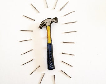 Wearable Art Brooch: Hammer
