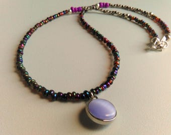 Multicolor Beaded Necklace, Colourful Charm Necklace, Rainbow Beads Necklace, Pendant Necklace, Purple Necklace, Bright Everyday Necklace