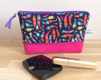 Pouch / makeup case in fabric, hot peppers - pink, black and purple