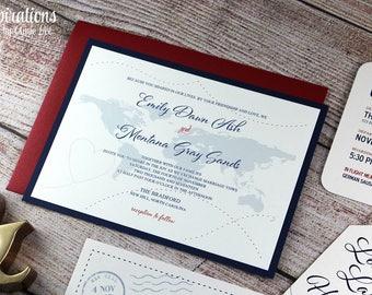 Wedding Invitations, Travel theme wedding, map invitations