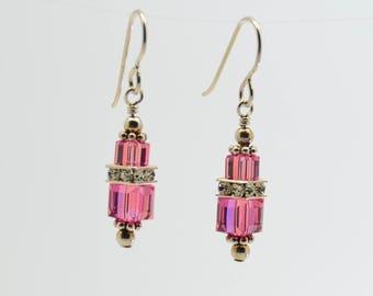 Pink Tourmaline Swarovski Crystal Squaredelle Earrings // October birthstone earrings // Bridesmaid earrings // Gifts for under 20