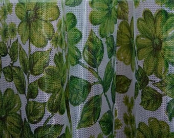 70's translucent flower curtains, two pieces