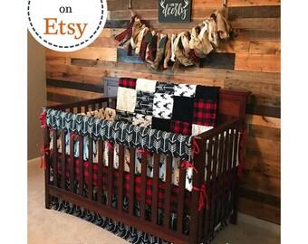 Baby Boy Crib Bedding - Buck Deer, Black Arrows, Lodge Red Black Buffalo Check, and Black Crib Bedding Ensemble