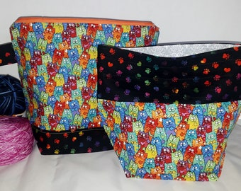 Large or Medium Size Hippie Tie Dye Cats, Kitty, Kitties with Attitude Inspired WIP Tote Bag, Zipper or Drawstring, 60s Inspired