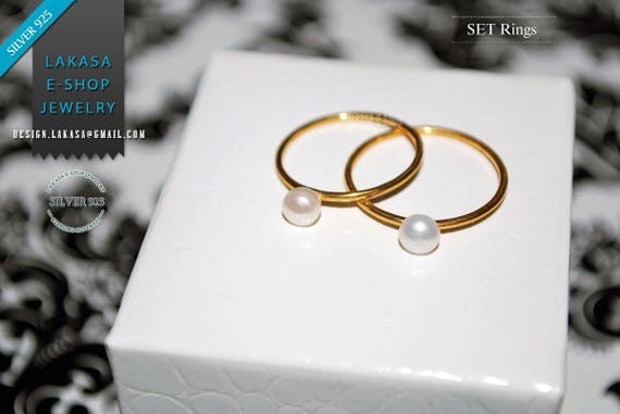 OFFER Set 2 Rings Freshwater Pearls Sterling Silver Gold Handmade Jewelry Friendship Gift Mother & Daughter Bridal Greek Minimalist Style