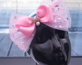 Oversized Pink Tulle Bow - Baby / Toddler / Girls / Kids Headband / Hairband / Hair bow / Barrette / Hairclip for Birthday / Wedding / Party
