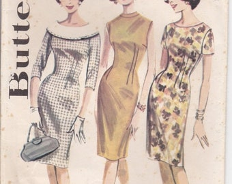 ON SALE 1960's Sewing Pattern - Butterick 2137 Dress Size 12 Bust 32 Inches Uncut, Factory Folded.