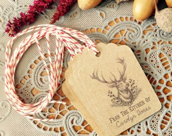 Vintage Style Woodland Deer From the Kitchen of Personalized Kraft Tags from Curious London