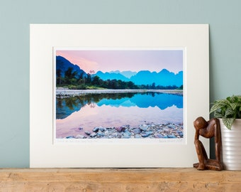 Sunset at Nam Song, Vang Vieng, Laos - Fine Art Photography Print with Mount to fit a ready-made 24x30/30x40/40x50cm frame