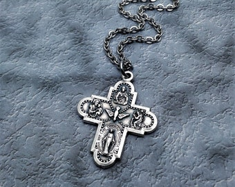 Five Way Cross Necklace / Catholic Necklace / Cross Necklace / Christian Cross Necklace / Catholic Jewelry / Religious Jewelry