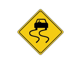 Slippery When Wet Car Symbol Xing Metal Aluminum Novelty Warning Sign 12x12