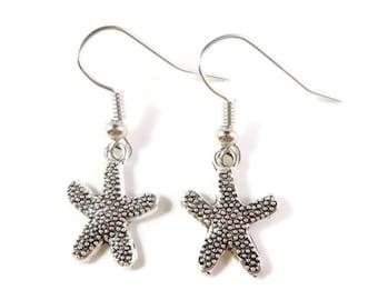 Silver Starfish Earrings, Starfish Charm Earrings, Nautical Jewelry, Beach Earrings, Dangle Earrings, Ocean Jewelry, Sea Earrings, Gift Idea