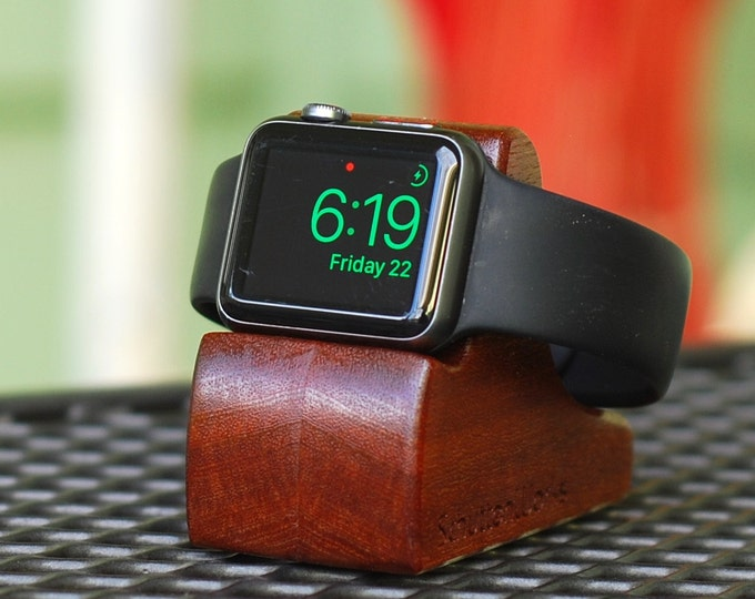 Apple Watch Dock - The RIPPLE in Mahogany - Hides the cable - Perfect for Nightstand Mode.
