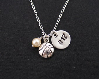 basketball necklace with hand stamped player number, sterling silver filled, Swarovski pearl choice, silver basketball charm on silver chain