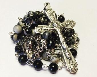 Catholic Handmade Rosary with Silk Stone Beads