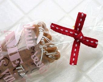 10 Stitch Ribbon Twist Ties - Red (3.1 x 1.4in)