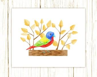 Painted Bunting Print -- bird art --blue bird art 52 birds stephanie fizer coleman illustration