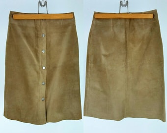 Vintage Tan Suede Snap Button Skirt / Extra Small
