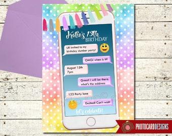 Cell Phone Birthday Invitation, Emoji Birthday, Emoji, Emoji Invitation, Tween Birthday, Invite, Digital, Print file, Party, Tween, Teen