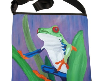 Frog Small Cross Body Handbag by Salvador Kitti  - From my Original Oil Painting
