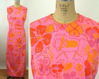 1960s shift maxi dress Vested Gentress hand screened print preppy pink orange floral whimsical cow Size L