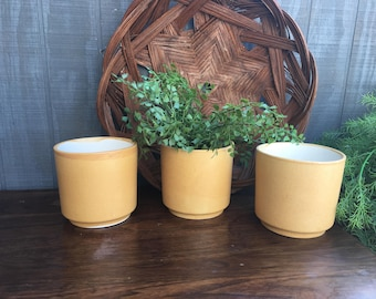 Vintage Set of Three Yellow Flower Pots, Three Matching Pottery Flower Pots,  Made in Korea,