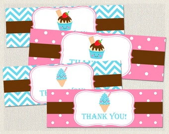 Blue Goodie Treat Bag Toppers Birthday Ice Cream Pink 1st 2nd 3rd Printable Girl IV-13
