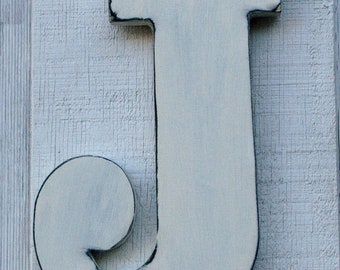 """Baby Nursery Initial Rustic Wooden Letter J Distressed Painted White12"""" tall Wood Name Letters, Custom Wedding Gift"""