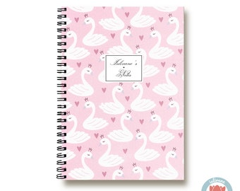 Bullet Journal Notebook - Pink Swans Crown - Custom Notebook  Journal Sketchbook Spiral Notebook Schrift Recipe Book School Gift 1N