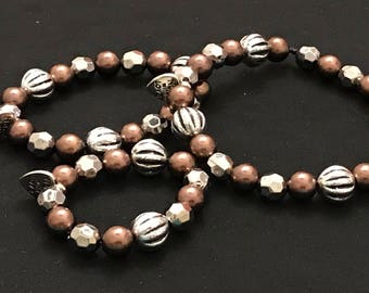 """Mommy, Dolly, and Me matching beaded bracelets, """"Made with Love"""" charm, copper and silver"""