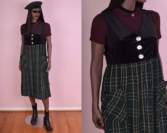 90s Velvet and Plaid Jumper Dress/ US 6/ 1990s/ Black/ Green