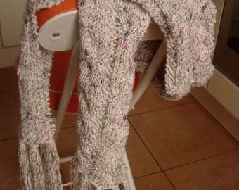 Scarf beige rope with nylon thread