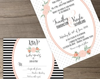 Floral Wedding Invitation Package • Custom • Modern Black White Coral Peach • Floral Polka Dot Stripes • printable