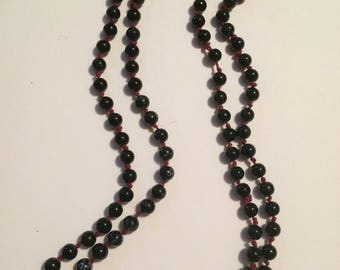Long beaded wrap necklace