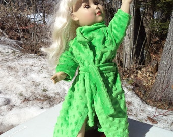 "18"" bright green doll bathrobe, green doll bathrobe, textured green doll bathrobe, belted doll bathrobe, full length bright green bathrobe"