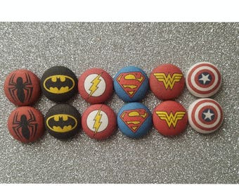 Superhero fabric button earrings