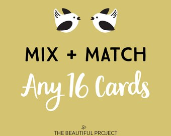 Mix and Match Any 16 Cards - Greeting Card Set, Card Sale, Any Occasion Cards, Birthday Card, Holiday Card Sale, Thanks, Mix & Match Set