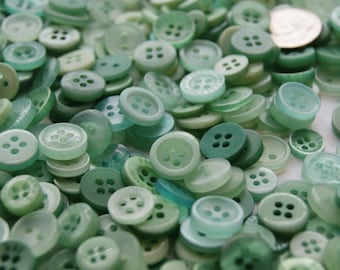 300 Sea Foam  Mint Green Small Button Mix, Assorted Buttons, Crafting Jewelry Collect (1462 c)