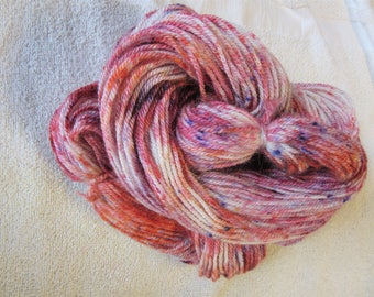 "100% Alpaca -Speckle Dyed by Hand ""Pink Flamingo""  - 3 Ply DK Weight Yarn - 250 Yds - 12-14 WPI"