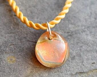 Dichroic Teeny Glass Pendant Boro Lampwork on Braided Satin Cord - Citrus