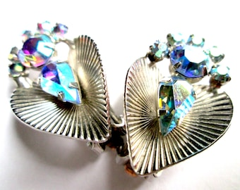 Vintage Pear Cut AB Rhinestone Heart Cluster Clip On Earrings Silver Tone Art Nouveau Art Deco Aurora Borealis Blue Aqua