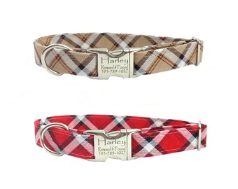 Personalized Laser Engraved Nickel Finish Metal Buckle Plaid  Dog Collar - Choose from 2 colors! 2-3 Week Ship Time