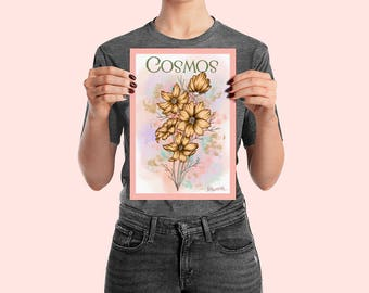 COSMOS - Flower Ink Watercolour Wall Art Poster